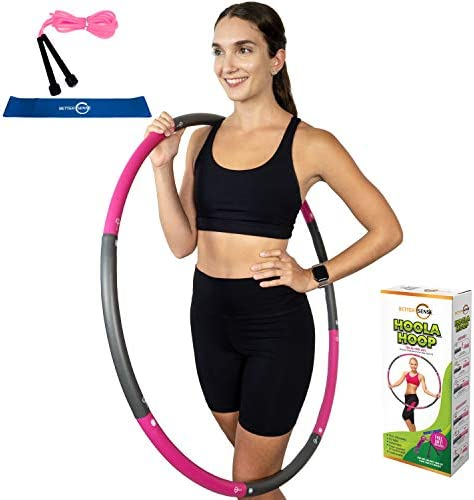 Better Sense Hoola Hoop for Adults - 8 Section Detachable Hoola Hoops, 2lb Weighted Hoola Hoop for Exercise - Portable Smooth & Soft Padding Weighted Hula Hoop with Jump Rope & Resistance Band 1