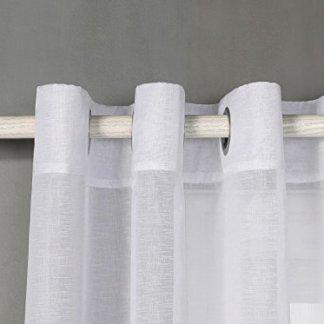 Tende trasparente con 8 OLLAO (1 pannello, 140 x 260) per soggiorno, camera e camera. 140_x_260_cm (Bianco). Modello Clara