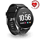 YoYoFit Smart Fitness Watch with Heart Rate Monitor, Waterproof Fitness Activity Tracker Step Counter with Music Player Control, Customized Face Look GPS Pedometer Watch for Women Men, Black