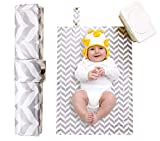 Diaper Changing Mat for Toddlers - Waterproof, Wipeable & Washable - (Grey Chevron)