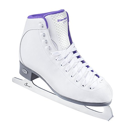 Riedell Skates - 118 Sparkle - Beginner Soft Figure Ice Skates with Stainless Steel Spiral Blade | White | Size 6