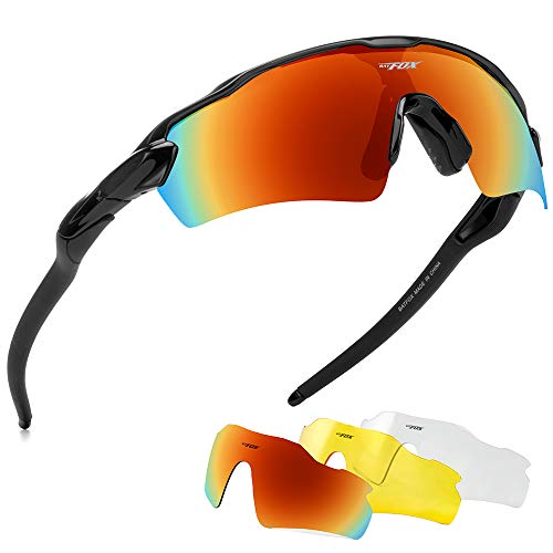 BATFOX Polarized Sports Sunglasses Glasses TAC Running Cycling Baseball Fishing Golf Softball Outdoor for Men Women Youth Interchangeable Lenses Tr90 Unbreakable Frame 100% UV Protection(Colorful)