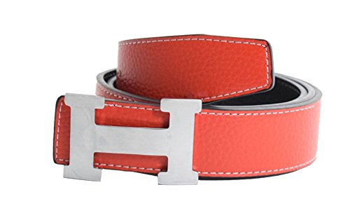Men's H Reversible Leather Belt With Removable Buckle Red with Silver Buckle