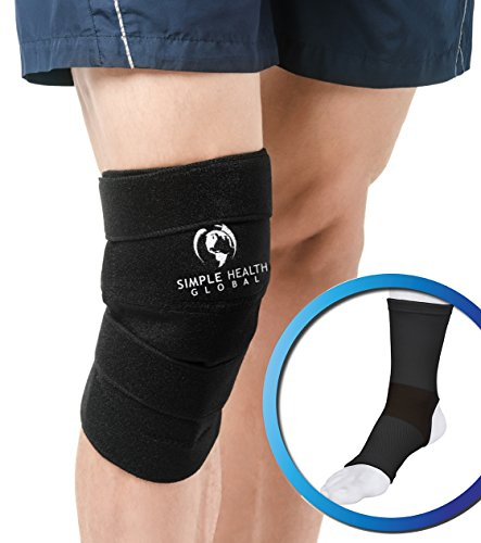 Knee Support Sleeve Wrap By Simple Health, Adjustable Compression Brace for Magnetic Pain Relief with Neoprene Copper