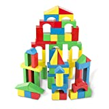Melissa & Doug Wooden Building Blocks Set (Developmental Toy, 100 Blocks in 4 Colors and 9 Shapes, Great Gift for Girls and Boys - Best for 3, 4, 5, 6, 7, and 8 Year Olds)