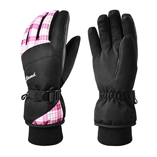 KINEED Winter Women Ski Gloves,Waterproof Windproof Snowboard Snow Riding 3M Thinsulate Warm Gloves