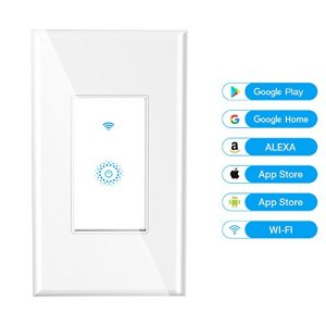 Wifi Smart Wall Light Switch,Wireless Remote Control Lighting On/Off Anywhere,Work With Alexa and Google Assistant ,support Android and IOS APP, 15A ( Need Neutral Wire)
