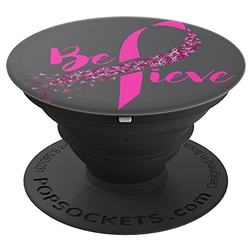 Believe Breast Cancer Awareness PopSocket Grip - PopSockets Grip and Stand for Phones and Tablets