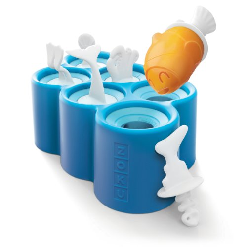 Zoku Fish Pop Molds, 6 Different Easy-release Silicone Popsicle Molds in One Tray, Unique Sea-creature Designs, BPA-free