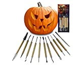 Halloween Pumpkin Carving Tool Kit - Heavy Duty Knife Sets Jack-O-Lantern Halloween Sculpting, Decorating Carve for Kids & Adults, 11 Double Sided Pieces with 21 Tools
