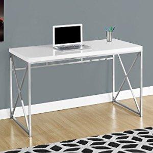 Monarch Specialties Computer Desk - Contemporary Home & Office Desk - Scratch-Resistant - 48' L (White)