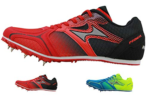HEALTH Men's Track & Field Shoes Spike Running Mesh Breathable Professional Sports Shoes 5599 Red