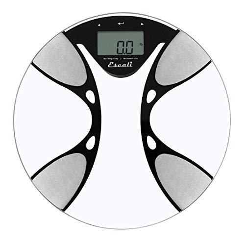 Escali BFBW200 Glass Body Fat/ Body Water Digital Bathroom Scale, 440lb/200 Kg