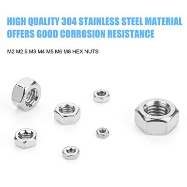 DYWISHKEY-310-Pieces-Metric-304-Stainless-Steel-Hex-Nuts-Assortment-Kit-for-Screw-Bolt-M2-M25-M3-M4-M5-M6-M8