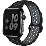 EXCHAR Sport Band Compatible with Apple Watch Band 44mm 42mm Breathable Soft Silicone Replacement Wristband Women and Man for iWatch Series 4 3 2 1 Nike+ All Various Styles M/L Black-Grey