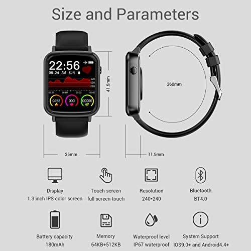 2020 CEGAR Fitness Tracker, Smart Watch with Heart Rate, Ip68 Waterproof Bluetooth Smartwatch for Android iOS Phone, Sleep Tracking Calorie Counter,Pedometer for Women Men (Black) 10
