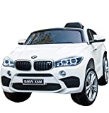 Licensed BMW X6 Ride On JJ2199 Electric Toy Car for Kids 12V Battery Powered LED Lights MP3 RC Parental Remote Controller Leather Seat Suitable for Boys Girls White