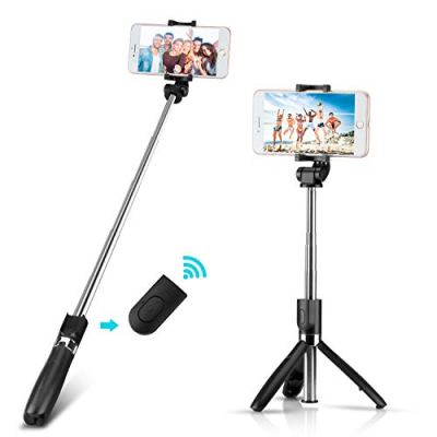 Yimidon Bastone Selfie Bluetooth Estensibile, Selfie Stick Treppiede con Wireless Remote Shutter per iPhone/Samsung/Android Smartphone – Telecomando Rimovibile, 360° Rotazione (Nero)