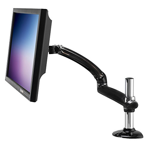 Ergotech Freedom Arm, Single Aluminum Monitor Arm, holds up to 27' Monitor with Desk Clamp - Metal Gray