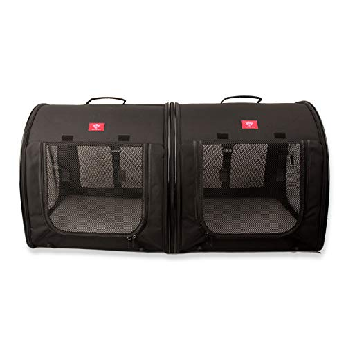 One for Pets Portable 2-in-1 Double Pet Kennel/Shelter, Fabric, Black 20'x20'x39' - Car Seat-Belt Fixture Included