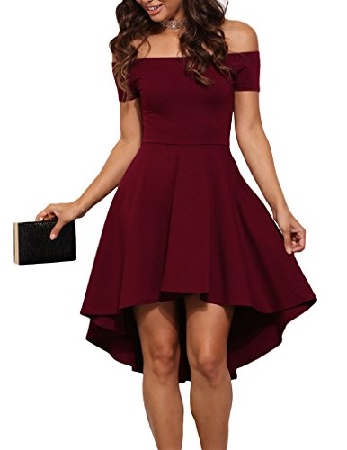 41rUQyWRgJL Super CUTE Skater Dress Unique HIGH LOW Hem Off Shoulder Neckline With SHORT SLEEVE