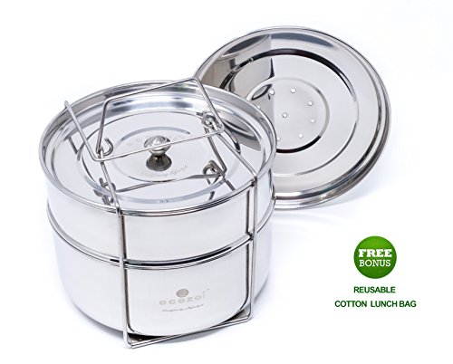 Ecozoi-Premium-Food-Steamer-Pot-In-Pot-Insert-Pans-for-6-8-Quart-Instant-Pot-Accessories-Pressure-Cookers-2-Tier-Stackable-PIP-Extra-Deep-Interchangeble-Lids-BONUS-Reusable-Lunch-Bag
