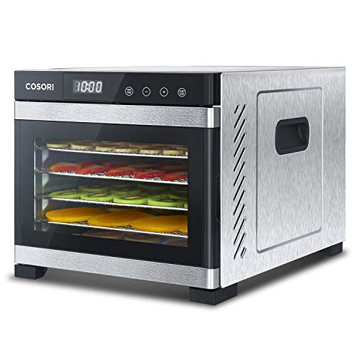 COSORI Food Dehydrator Machine(50 Recipes) Stainless Steel, Digital Timer and Thermostat Preset 6-Tray Food Dryer for Beef,Jerky,Fruit,Dog Treats,Herbs,2 Year Warranty,ETL Listed/FDA Compliant