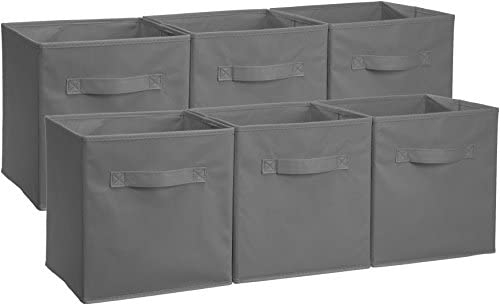 AmazonBasics Collapsible Fabric Storage Cubes Organizer with Handles, Gray – Pack of 6