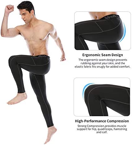 Runhit Compression Pants Men(2 Pack),Spandex Athletic Leggings with Pockets Running Workout Tights Shorts Base Layer 5