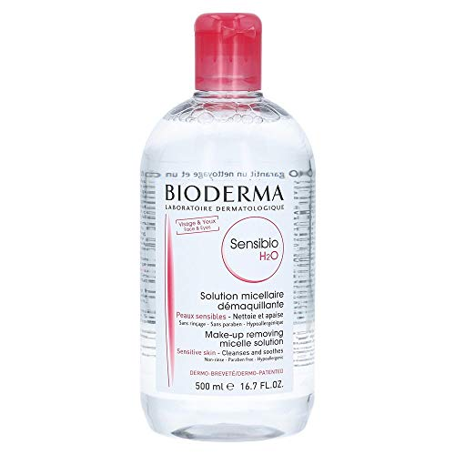 Bioderma Sensibio H2O Micellar Cleansing Water and Makeup Remover Solution for Face and Eyes - 500ml/16.7 fl.oz