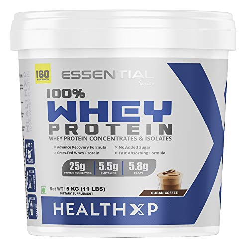 HealthXP 100% Whey Protein 5Kg/160 Servings/25gms Protein Per Servings (Cuban Coffee)