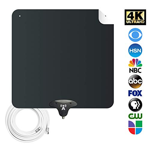 NoCable 30 - Indoor HDTV Digital Antenna | 12 Foot Cable, Free TV for Life, Ultra-Flat and Reversible, Aerial HD TV Antenna. Easy Install