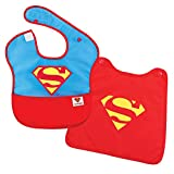 Bumkins DC Comics Superman SuperBib, Baby Bib, With Cape, Waterproof, Washable, Stain and Odor Resistant, 6-24 Months (Pack of 1)