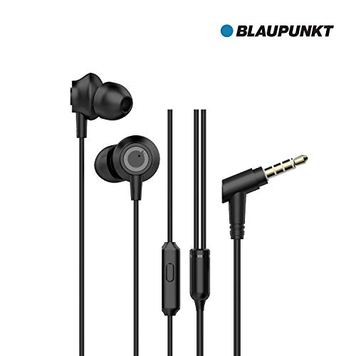 Blaupunkt EM10 Wired Earphone with Super High Bass in-Line Mic &Multi-Functional Remote (Black) 79
