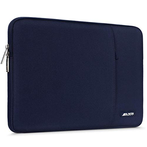 MOSISO Laptop Sleeve Bag Compatible 13-13.3 Inch MacBook Pro, MacBook Air, Notebook Computer, Vertical Style Water Repellent Polyester Protective Case Cover with Pocket, Navy Blue