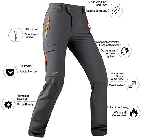 KUTOOK Women's Thermal Softshell Hiking Pants Windproof Polar Fleece Lined Cargo Pants for Winter Outdoor Sports 2