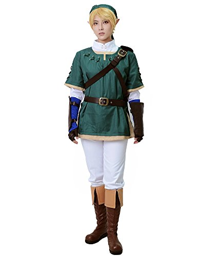 Miccostume Men's the Legend of Zelda Link Cosplay Costume Small Green and White