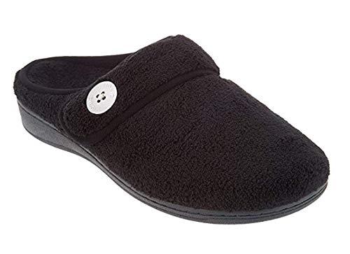 Vionic Women's Indulge Sadie Mule Slipper - Ladies Slipper Concealed Orthotic Support Black 9 M US