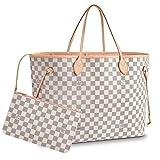 Lotwxa Ladies Shopper Checkered Handbag Women Top Handle Designer Party Tote bag White(Pink) 40x32x20cm