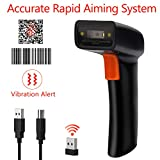 Tera Barcode Scanner Wireless and Wired 1D 2D QR Digital Printed Bar Codes Reader Portable Handheld Barcode Scanner Compact with Magic Diamond Accurate Rapid Aiming System and Vibration Alert