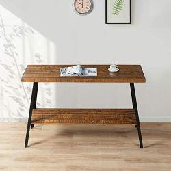 "PrimaSleep Famille 48""W Solid Wood Top & Steel Legs Sofa TV Coffee Computer Dining Table, Rustic Brown"