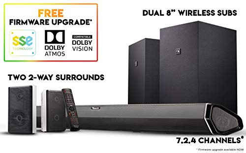 Nakamichi Shockwafe Elite 7.2Ch DTS:X 800W 45-Inch Sound Bar System with Dual 8' Subwoofers (Wireless) & 2-Way Rear Surround Speakers