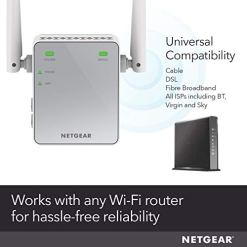 NETGEAR Wi-Fi Range Extender EX2700 – Coverage up to 600 sq.ft. and 10 devices with N300 Wireless Signal Booster and Repeater (up to 300Mbps speed), and Compact Wall Plug Design with UK Plug
