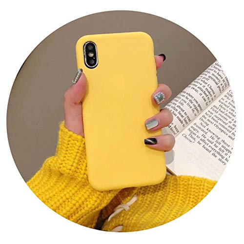 TPU Silicone Soft Shell Phone case for Apple X Mobile Phone Shell Phone XS max Apple 7/8plus Protective Cover XR Solid Color,Yellow,Phone XS Max