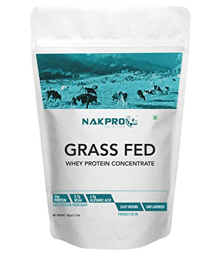 NAKPRO Grass Fed Whey Protein Concentrate 80%, Raw Whey Protein 1kg Supplement Powder, UK made – Unflavoured