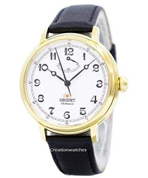 Orient Men's 'Monarch' Mechanical Hand Wind Stainless Steel and Leather Dress Watch, Color:Black (Model: FDD03001W0)