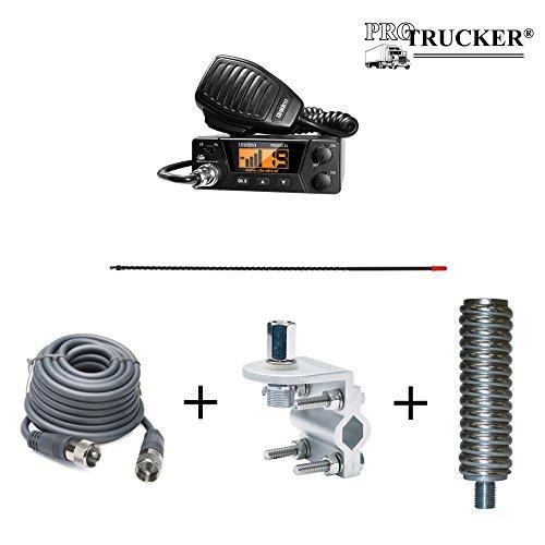 Pro Trucker CB Radio Full Kit Includes Uniden PRO505XL, 4' CB Antenna, 12' Coax Cable, Antenna Mount, Antenna Stud, & Antenna Spring