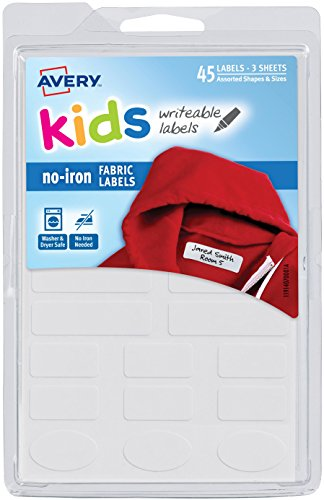 Avery No-Iron Kids Clothing Labels, Washer & Dryer Safe, Writable Fabric Labels, 45 Assorted Shapes & Sizes (40700) -Package may vary