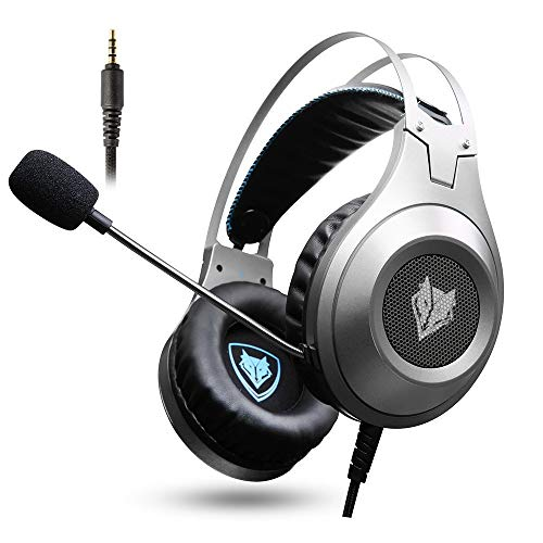 Gaming Headset, NUBWO Wired Gaming Headphones with Microphone and Volume Control for PC/Ps4/Xbox one 1 /Phone/Laptop (Silver)