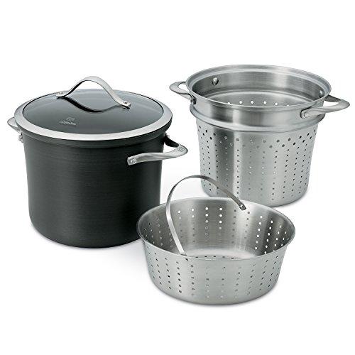 Calphalon Contemporary Hard-Anodized Aluminum Nonstick Cookware, Pasta Pot with Steamer Insert, 8-quart, Black